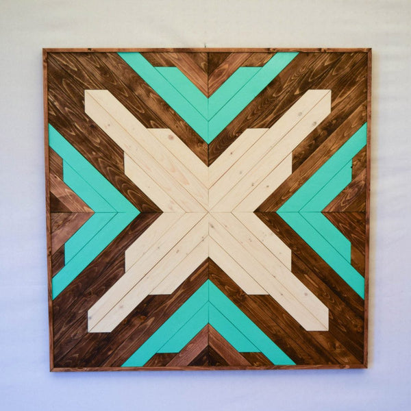 Aqua Wood Wall Art Hanging - Upper Earth