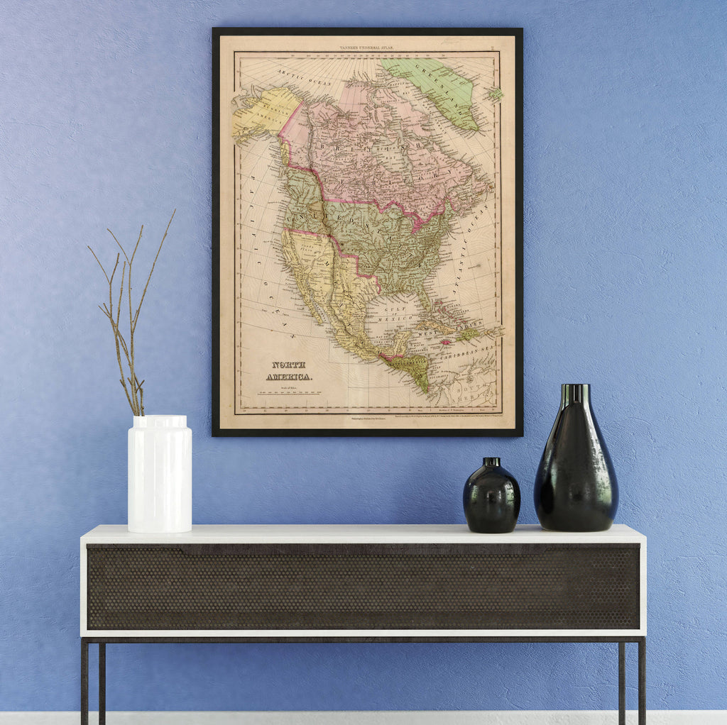 Canvas Print of Antique Map of North America - Upper Earth