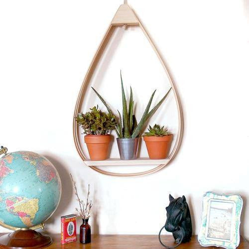 Large Eco-Friendly Wooden Shelf - 1 Shelf with Natural Finish - Upper Earth