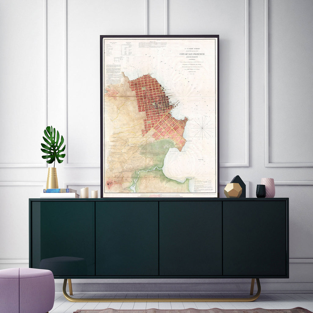 Canvas Print of Map of San Francisco Bay - Upper Earth