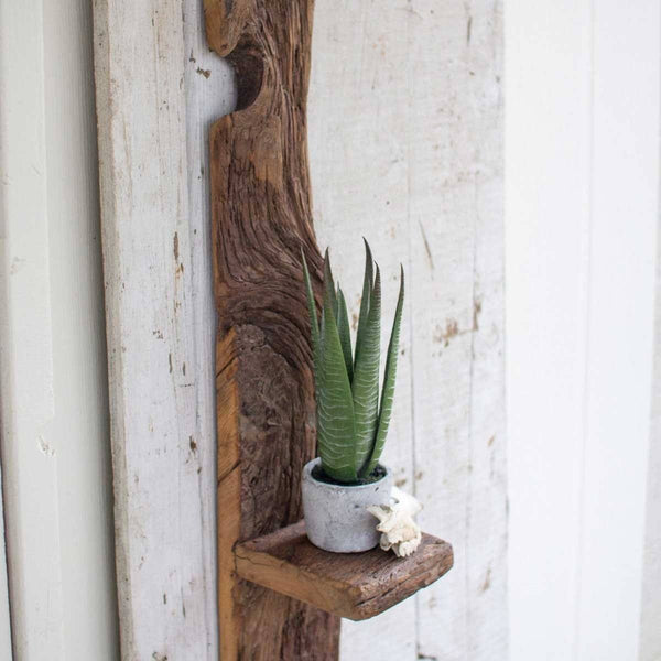 Tall Recycled Wooden Wall Shelf