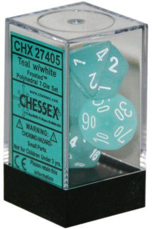 Chessex Polyhedral Dice - 7D Frosted Teal/White