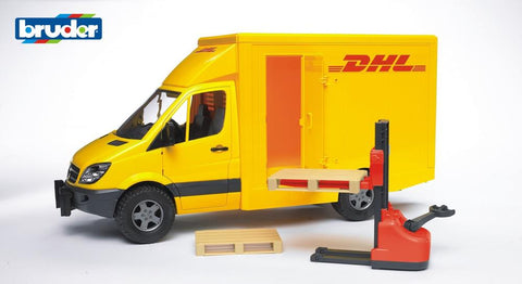 Bruder 1/16 MB Sprinter DHL with hand pallet truck and 2 pallets