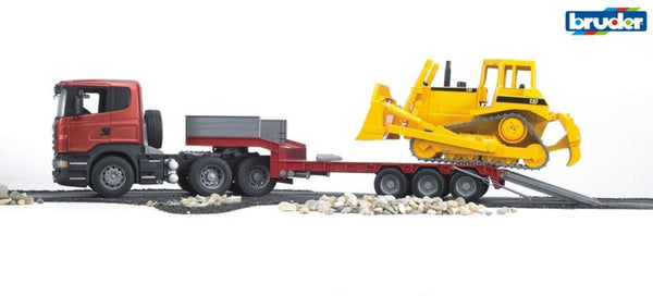 Bruder 1:16 Scania R-Series Low Loader Truck w/CAT Bulldozer