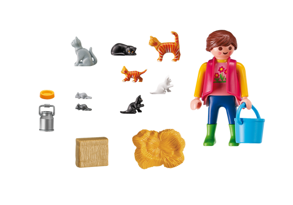 Playmobil Woman with Cat Family