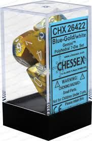 Chessex Polyhedral Dice - 7D Gemini Blue-Gold/White Set