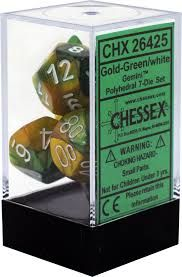 Chessex Polyhedral Dice - 7D Gemini Gold - Green/White