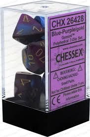 Chessex Polyhedral Dice - 7D Gemini Blue Purple/Gold