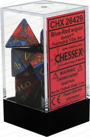 Chessex Polyhedral Dice - 7D Gemini Blue - Red/Gold Set