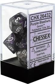 Chessex Polyhedral Dice - 7D Gemini Purple Steel /White Set