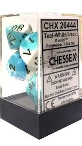Chessex Polyhedral Dice - 7D Gemini Teal - White/Black Set