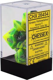 Chessex Polyhedral Dice - 7D Gemini Green - Yellow/Silver Set
