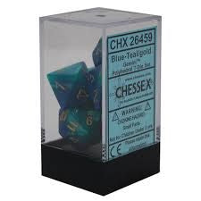 Chessex Polyhedral Dice - 7D Gemini Blue - Teal/Gold Set