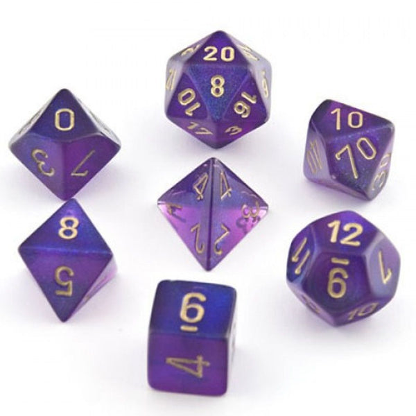 Chessex Polyhedral Dice - 7D Borealis Purple/White