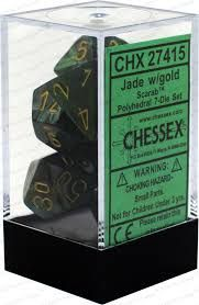 Chessex Polyhedral Dice - 7D Scarab Jade/Gold