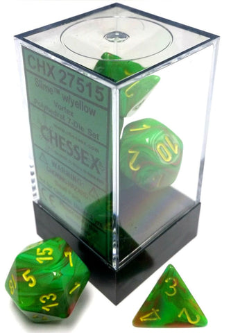 Chessex Polyhedral Dice - 7D Vortex Slime/Yellow