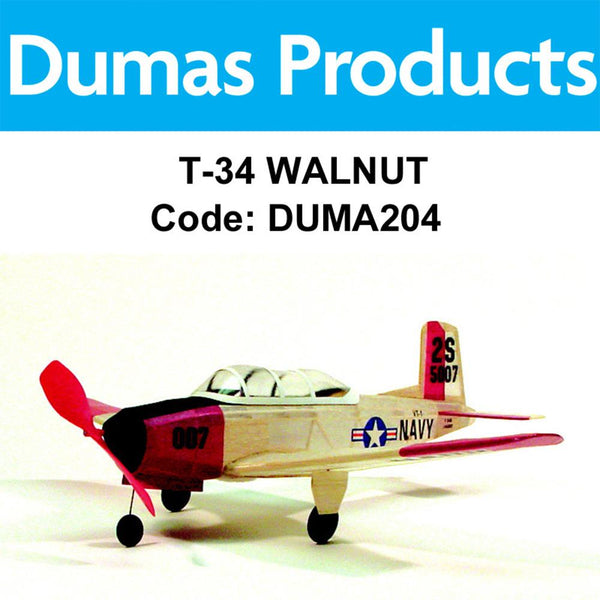 Dumas T-34 Mentor Rubberband Powered Kit 17.5in Wingspan