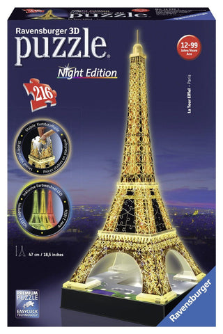 Ravensburger 216pc 3D Eiffel Tower at Night Puzzle