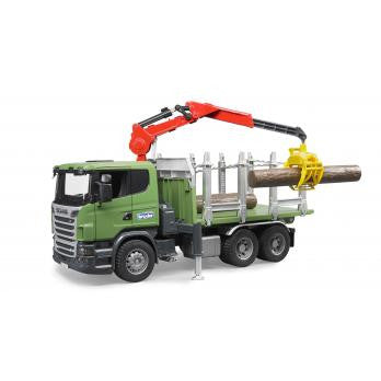 Bruder 1:16 Scania R-Series Timber Truck w/ Loading Crane & Logs