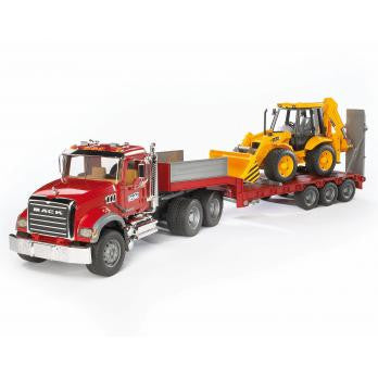 Bruder 1:16 MACK Granite Low loader truck with JCB 4CX  Backhoe loader