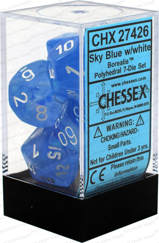 Chessex Polyhedral Dice - 7D Borealis Sky Blue/White