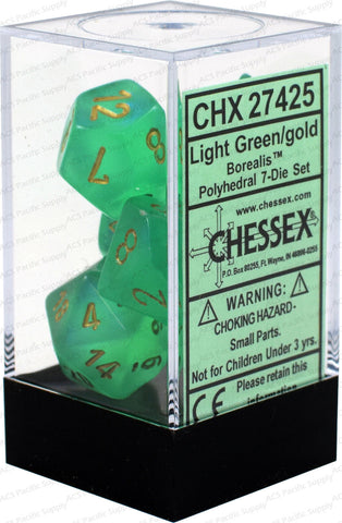 Chessex Polyhedral Dice - 7D Borealis Light Green/Gold