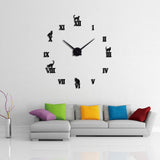 Large Cat Wall Clock Decor
