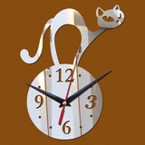 Cat Acrylic Wall Clock Black Silver Gold