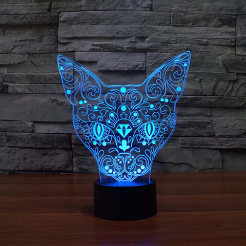 Cat Face LED 3D Table Lamp