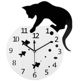 3D Home Acrylic Wall Clock Cat and Fish