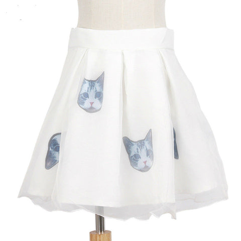 Secret Cat White Double Layer Skirt