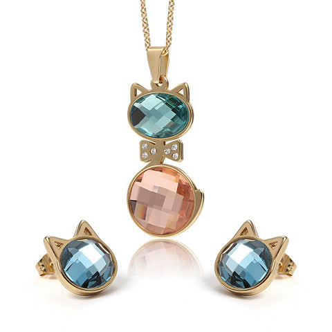 18K Gold Cat Crystal Jewelry Set