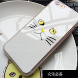 "Lovely Black White Cat Face Painted Soft Mirror Phone Case For iPhone 7 6 6S Plus SE 5 5S 4.7"" 5.5"""