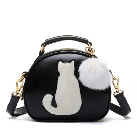 Cute Cat With Fur Ball Leather Handbag