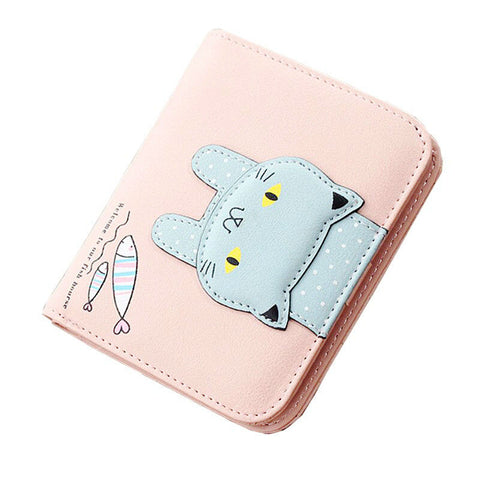 4 Colors Cute Cat Catching Fish Wallet