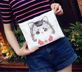 Cartoon Cat Black White Clutch Bag