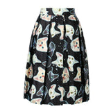 Cat Print High Waist Skirt