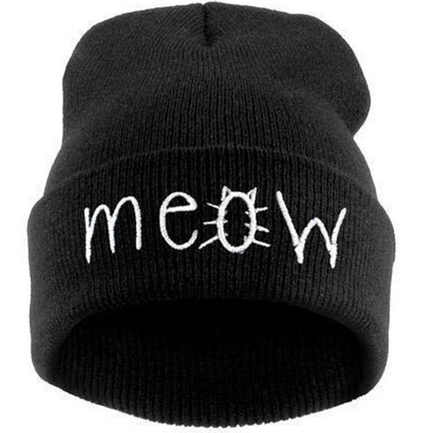 Cat MEOW Knitted Beanie