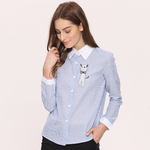 Embroidery Cat Long Sleeve Striped Blouse Shirt