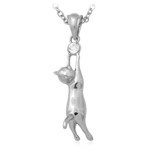 Necklace - 18K Real Gold/Platinum Plated Rhinestone Cat Necklace