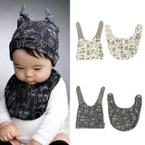 Cute Baby Saliva Scarf and Cat Pattern Cap Set