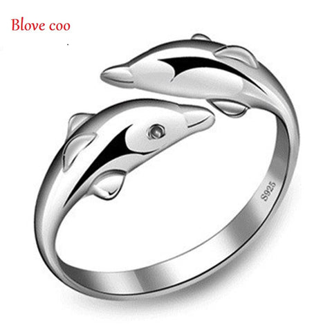 Dolphin Adjustable Silver Rings