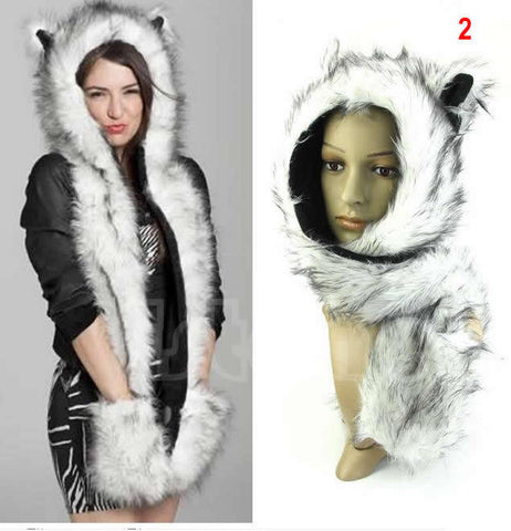 Winter Faux Fur Animal Hoods