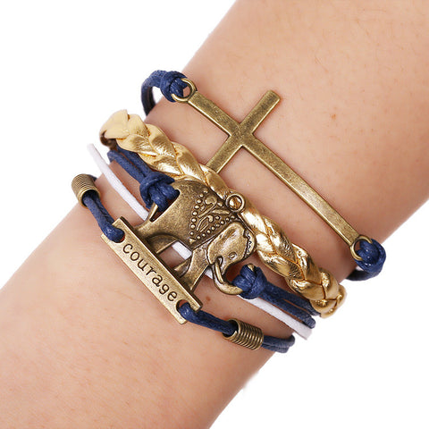 Elephant Cross Bracelet Sets