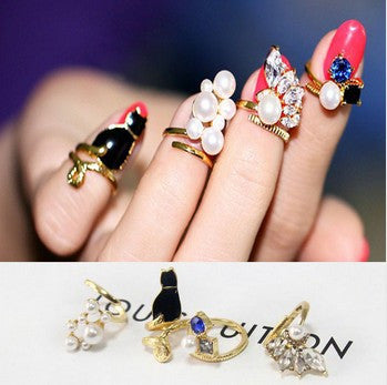 Crystal Black Cat  Nail Rings Set (4 pc)