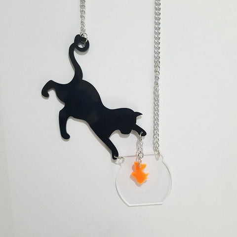 Cat Catch Fish Acrylic Necklace