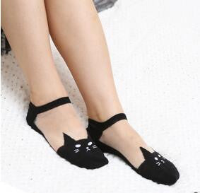 Cute Cat Crystal Silk Socks