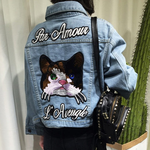 Cat Embroidery Denim Jacket
