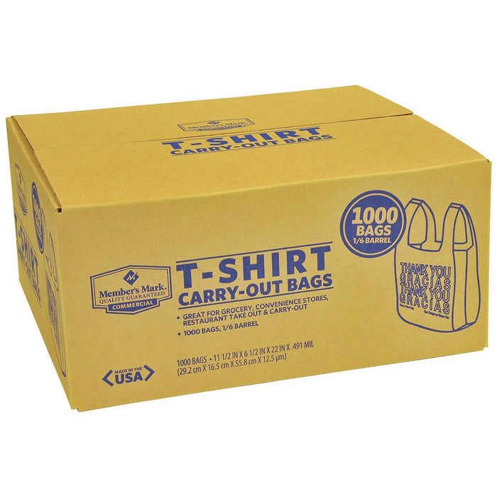1/6 Barrel WHITE T-Shirt Carry-Out Bags Member's Mark, 1 - 1000 CT