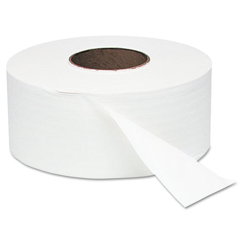 "White Jumbo Roll Bath Tissue, 9"" dia, 1000ft, 12 Rolls/Carton"